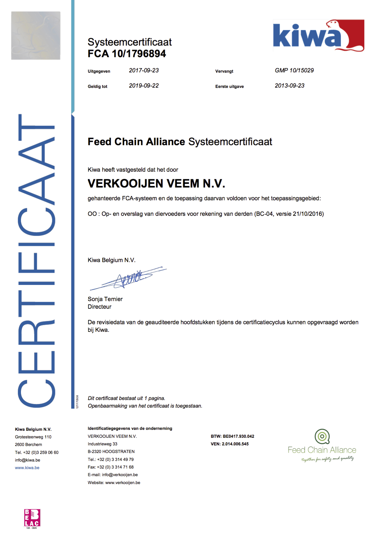 Feed Chain Alliance Systeemcertificaat